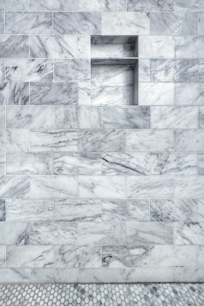 Arabescato Marble, the artesian project, master bath, steam shower