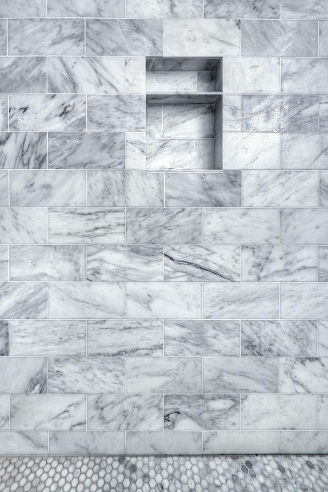 Arabescato Marble, the artesian project, master bath, steam shower
