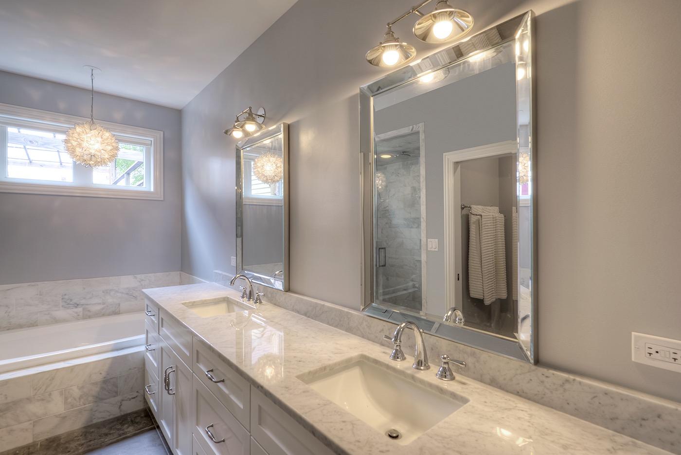 Carerra Marble master bath chicago rustic modern bathroom penant