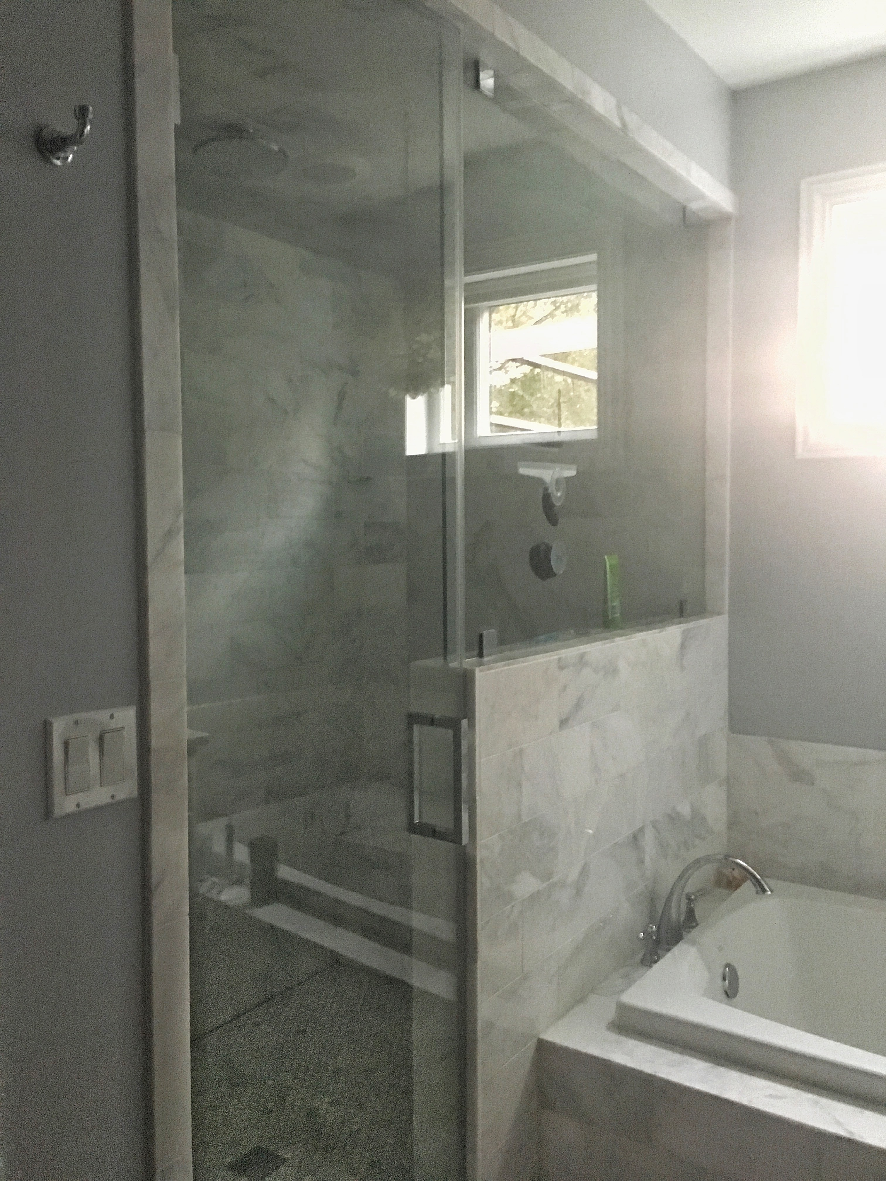 The Artesian Project Master Bath Shower steam shower arabescato tile hex