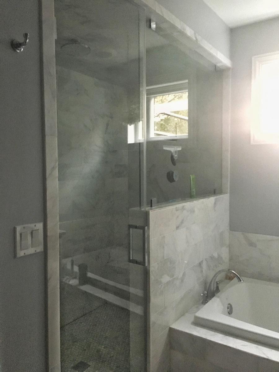 The Artesian Project Master Bath Shower steam shower arabescato tile hex
