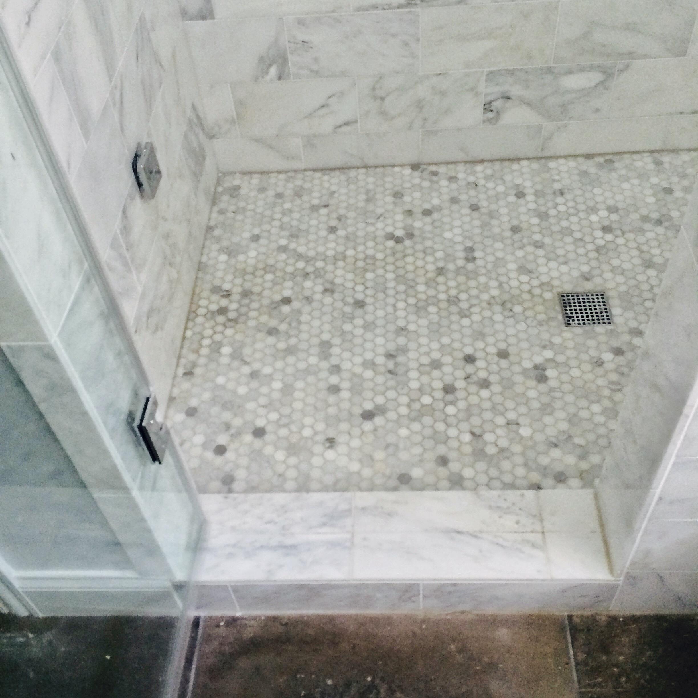 master bath marble hex tile arabescato marble veneza tile