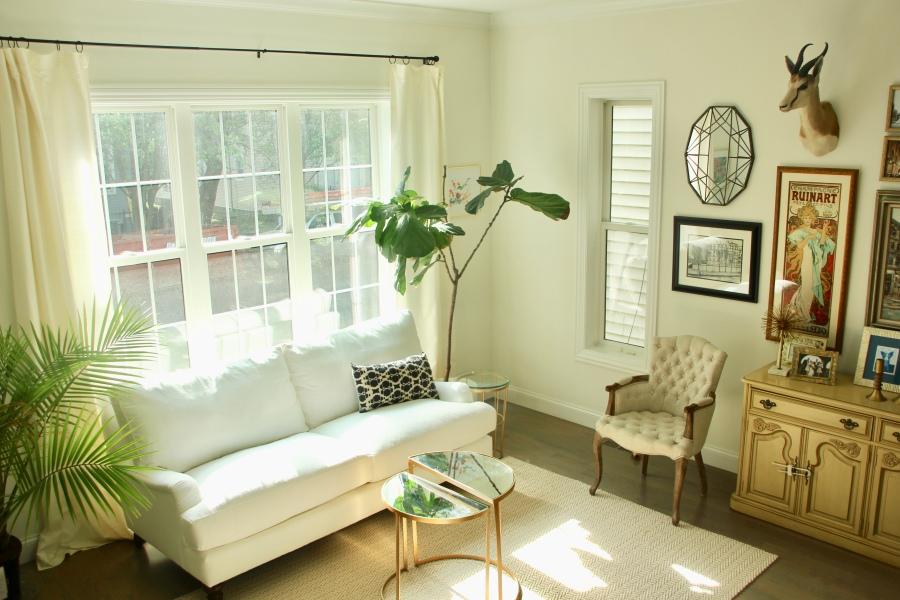 neutral living room white sofa couch window drapes birch lane montgomery sofa