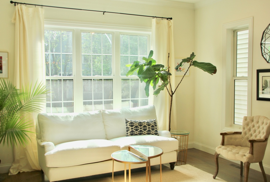 neutral living room front room white couch sofa birch lane montgomery sofa window