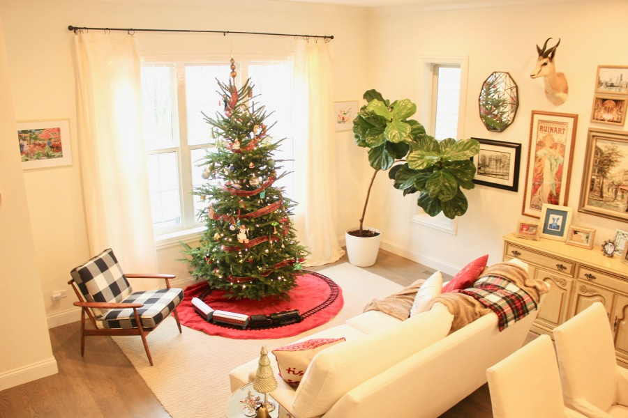 Artesian Designs | Holiday ...Buffalo plaid, ivory curtains, Birch Lane Montgomery Sofa, Fiddleleaf