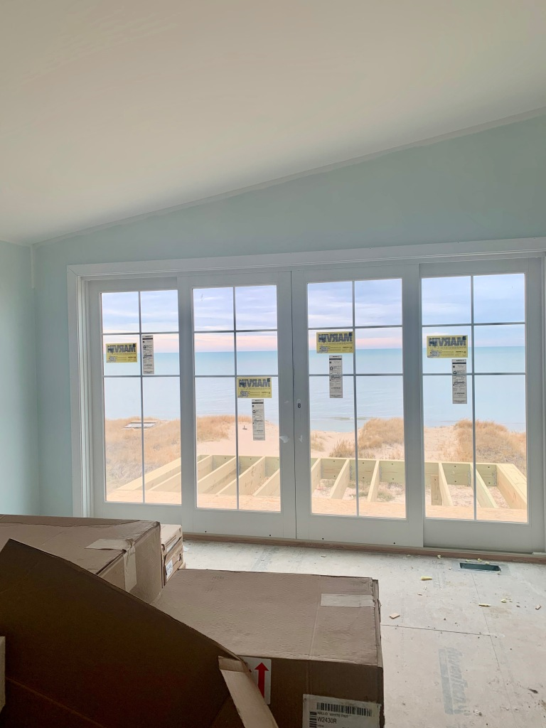 Artesian Designs- Beach House Master Bedroom - SW Topsail - Marvin sliding doors