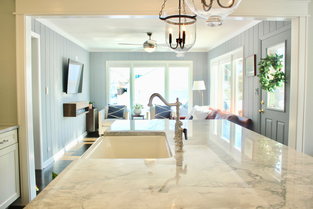 Artesian Designs | Navy and White kitchen renovation sw naval arabescato dolomite marble before and after