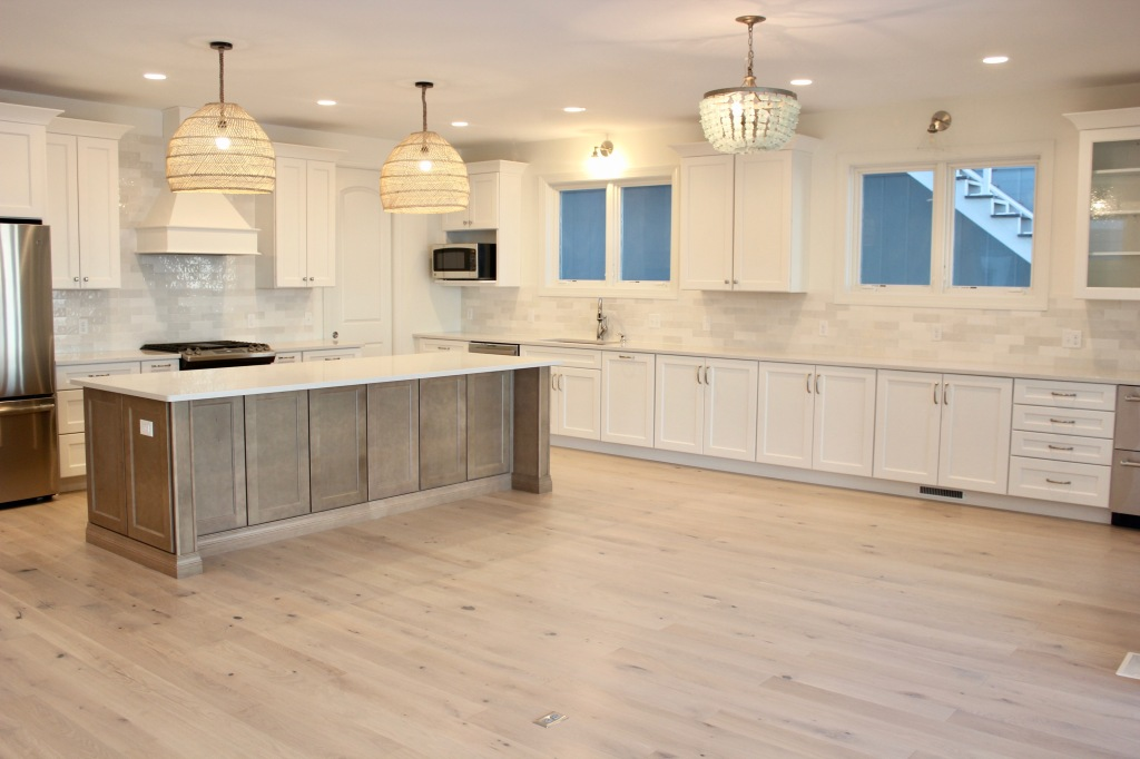 Artesian Designs | #csideproject Beach house SW Greek Villa kitchen white cabinets with wood island stuga studio pippi floors